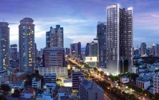 Knightsbridge Prime Sathorn by Origin Property. Located in Bangkok CBD. Next to Narathiwas station. One station away from Chong Nonsi BTS Station.